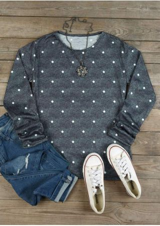 Polka Dot O-Neck Long Sleeve Blouse