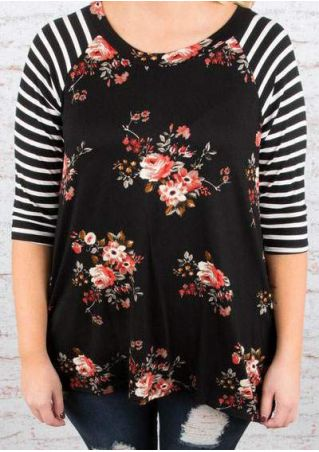 Plus Size Floral Striped Splicing Baseball T-Shirt
