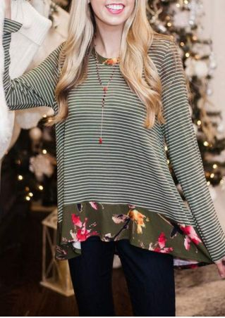 Floral Striped Splicing Blouse without Necklace