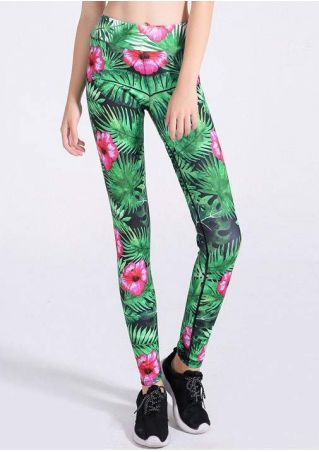 Floral Elastic Waist Sport Pants