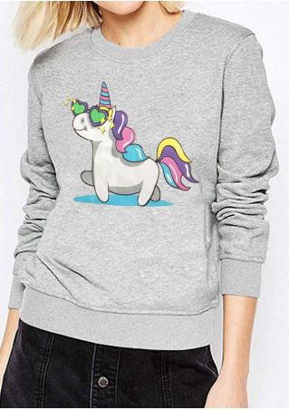 Unicorn O-Neck Long Sleeve Sweatshirt