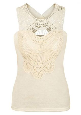 Lace Splicing Cross O-Neck Tank