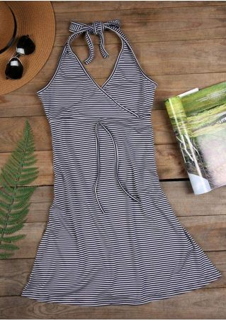 Striped Halter Wrap Mini Dress