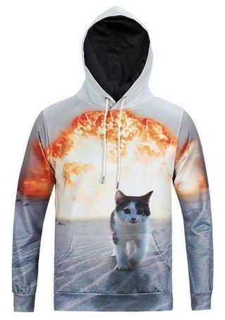 Bomb Cat Printed Casual Hoodie
