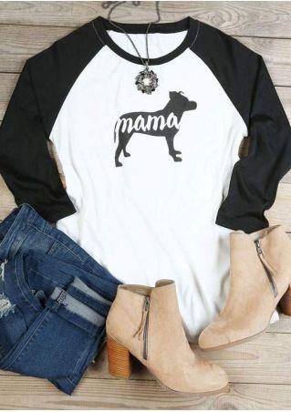 Dog Mama O-Neck Baseball T-Shirt