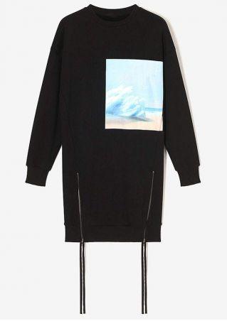 Printed Zipper O-Neck Mini Dress