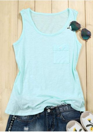 Solid Pocket Button O-Neck Tank