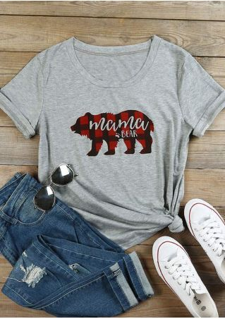 Plaid Mama Bear Paw T-Shirt