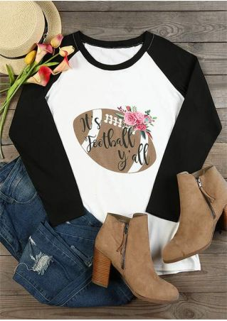 Floral It's Football Y'all Baseball T-Shirt