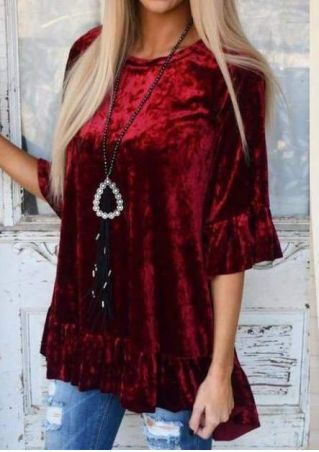 Solid Ruffled Silk Velvet Blouse without Necklace