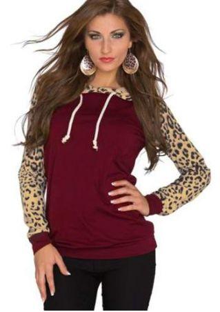 Leopard Printed Drawstring Long Sleeve Hoodie