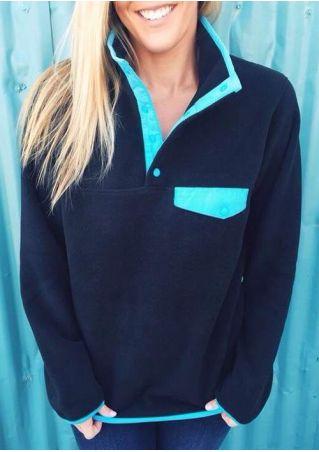Splicing Button Long Sleeve Sweatshirt