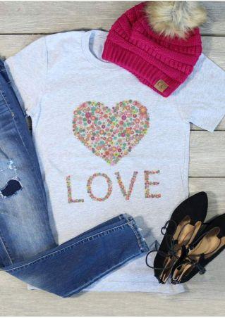 Floral Love Heart Short Sleeve T-Shirt