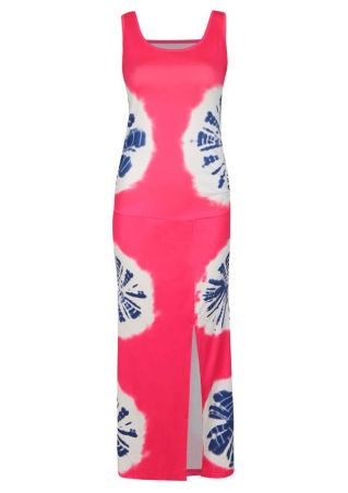 Printed Hollow Out Maxi Dress