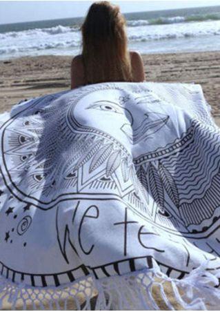 Sun Moon Printed Round Beach Blanket