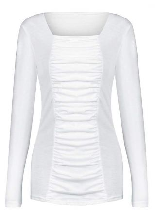 Solid Ruched Long Sleeve T-Shirt