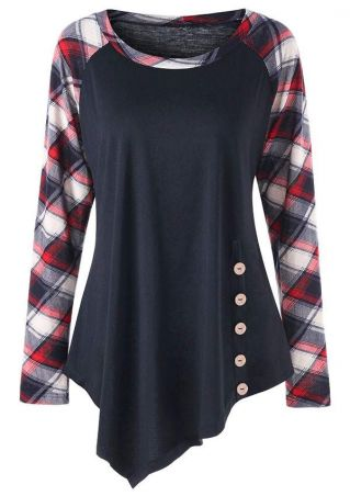 Plus Size Plaid Splicing Button O-Neck Blouse