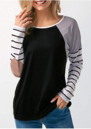 Striped Elbow Patch Splicing Baseball T-Shirt