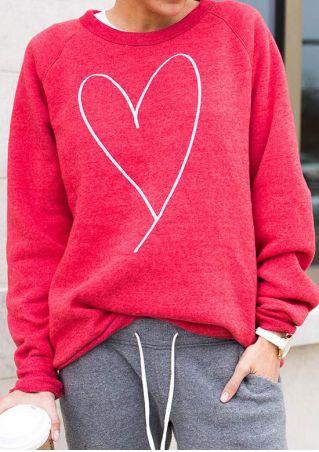 Heart O-Neck Long Sleeve Sweatshirt