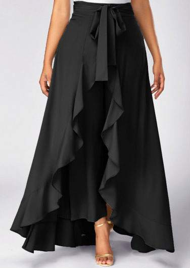 Solid Layered Asymmetric Skirt Side Pants Bellelily