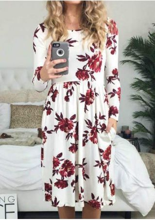 Floral O-Neck Pocket Casual Dress