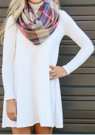 Solid Long Sleeve Mini Dress without Necklace