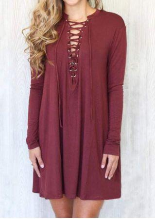 Solid Lace Up Mini Dress