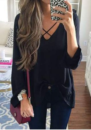 Solid Criss-Cross Long Sleeve Blouse