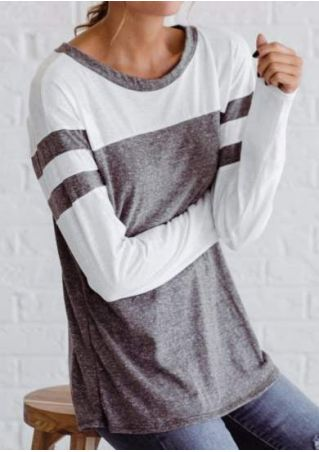 Color Block O-Neck Long Sleeve T-Shirt