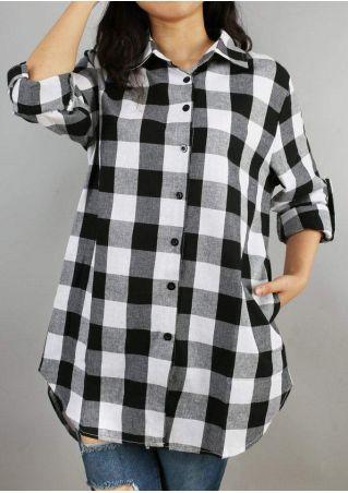 Plaid Pocket Asymmetric Tab-Sleeve Shirt