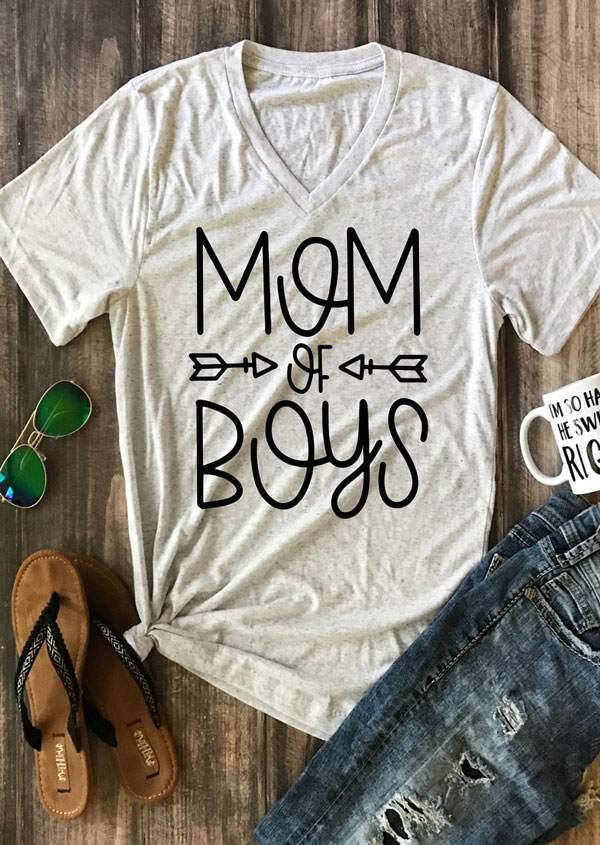 3f6c4cea2 Mom Of Boys V-Neck T-Shirt - Bellelily