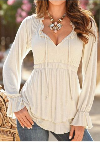 Solid Ruffled Layered V-Neck Blouse Without Necklace
