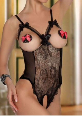 Lace Floral Splicing Bowknot Lingerie