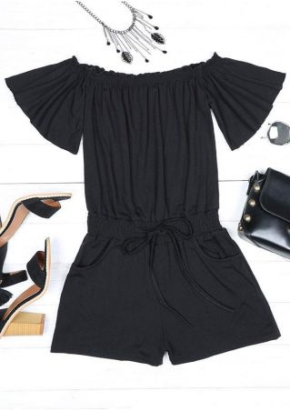Solid Ruched Off Shoulder Romper