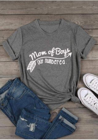 d41a91372 Mom Of Boys Out Numbered T-Shirt - Bellelily