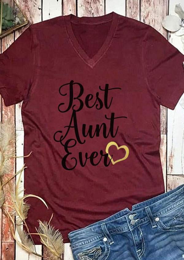 Best Aunt Ever V Neck T Shirt Bellelily