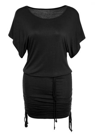Solid Ruched Batwing Sleeve Mini Dress