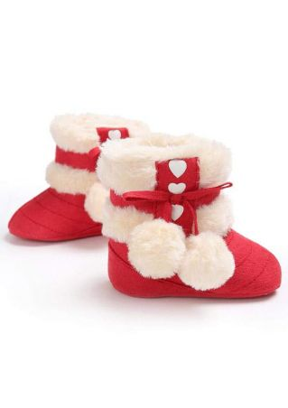 Baby Heart Pompon Fuzzy Warm Boots