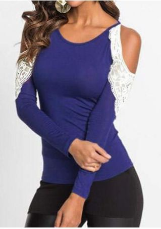 Lace Splicing Cold Shoulder Blouse