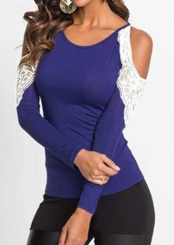 Lace Splicing Cold Shoulder Blouse 178275