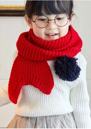 Kids Fishtail Knitted Pompon Scarf