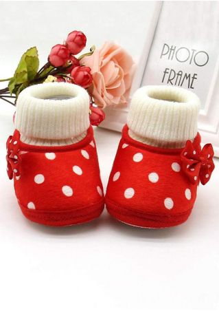 Baby Girls Polka Dot Bowknot Warm Shoes