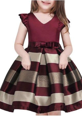 Girls Striped Bowknot Cap Sleeve Dress
