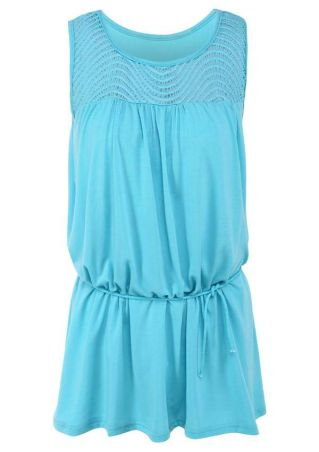 Solid Hollow Out Mini Dress
