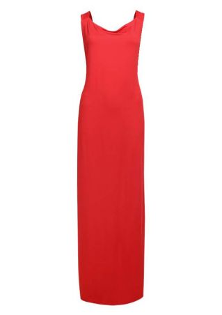 Solid Backless Sleeveless Maxi Dress