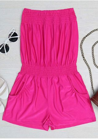 Solid Ruched Pocket Strapless Romper