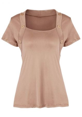 Solid Button Short Sleeve Blouse
