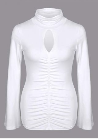 Solid Ruched Hollow Out Blouse