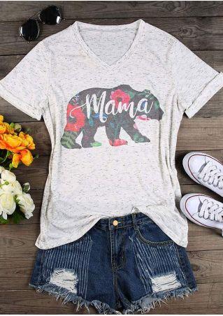 Mama Bear Floral V-Neck T-Shirt