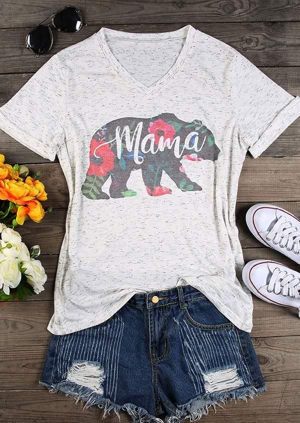Mama Bear Floral V Neck T Shirt Bellelily